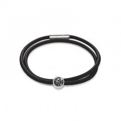 Coeur de Lion armband zwart leer met bedel Swarovski - 43724