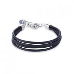 Coeur de Lion armband zwart leer - 43725