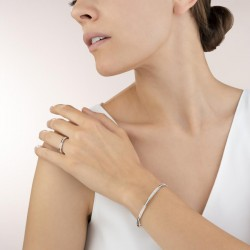 Coeur de Lion Bangle slim roestvrij staal roségoud & kristallen pavé kristal - 47585