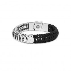 Buddha to Buddha 123-G Lars Mix Silver/Leather Bracelet Black MAAT 23cm - 46605