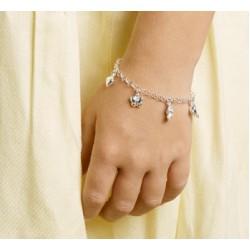 Zilveren armband dofijn, hart, beer, vlinder bedels 15 cm - 40102