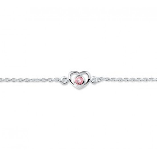 Zilveren Armband hart en zirkonia 13 - 15 cm - 40145