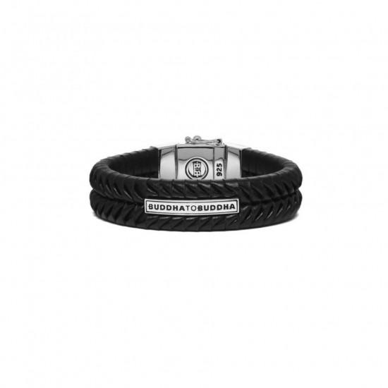 Buddha to Buddha 161BL-F Komang Leather Bracelet Black MAAT 21cm - 43421