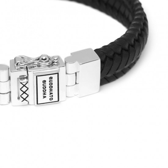 Buddha to Buddha 181BL-F  Edwin Small Leather Black Bracelet MAAT 21cm - 43236