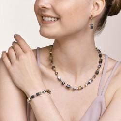 Coeur de Lion  Necklace GeoCUBE®  grey-gold 42+6 cm - 48342