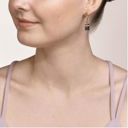 Coeur de Lion Earrings GeoCUBE® grey-gold 4cm - 48363