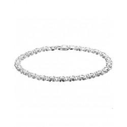 Zilver Koningsschakel Armband  Plat 5,5 mm 20 cm - 40077