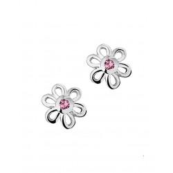 Zilver Oorknoppen Steker bloem zirkonia roze - 40105