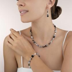 Coeur de Lion  Necklace GeoCUBE®  black-white-haematite 42+6 cm - 48341