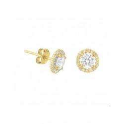 14krt gouden oorbellen met zirkonia - 42016