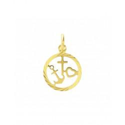 Gouden Hanger Geloof, Hoop en Liefde gediamanteerd - 42083