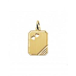 Gouden Graveerhanger harten mat gediamanteerd - 42090