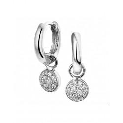 zilveren klap creolen met zirkonia - 43147