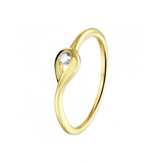 14 krt gouden zirkonia ring 16.5 - 44783