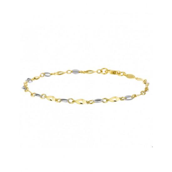 Gouden Armband Bicolor wit- en geelgoud 19 cm - 45422
