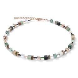 Coeur de Lion Ketting GeoCUBE® Swarovski® Crystals & Gemstones groen-beige - 45079
