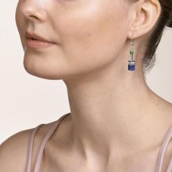 Coeur de Lion Earrings GeoCUBE® Swarovski® Crystals & Gemstones blue-green 4cm - 48360