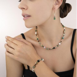 Coeur de Lion Armband GeoCUBE® Swarovski® Crystals & Gemstones groen-beige 17+3 cm - 45082