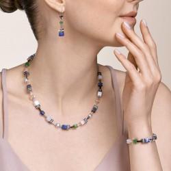 Coeur de Lion Armband GeoCUBE® Swarovski® Crystals & Gemstones blue-green 17+3 cm - 48358