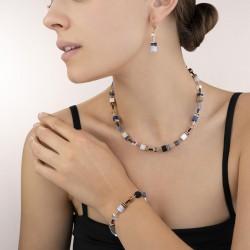 Coeur de Lion Armband GeoCUBE® Swarovski® Crystals & Gemstones blauw-beige 18+3 cm - 45084
