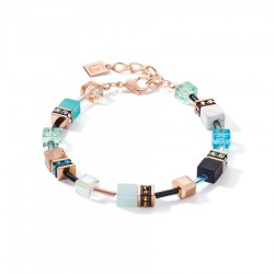 Coeur de Lion Armband GeoCUBE® Swarovski®-kristallen en edelstenen aqua-beige - 47509