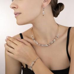 Coeur de Lion Earrings Swarovski® Crystals & stainless steel rose gold-silver 4 cm - 46910