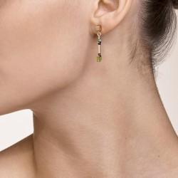 Coeur de Lion Earrings GeoCUBE® shades of green-petrol 2,8 cm - 48367