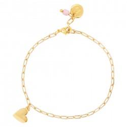 & anne Bracelet Heart Pink Bead Gold plating - 47620