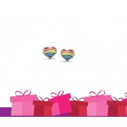 Bellini Zilveren oorknopjes regenboog hartjes - 45728