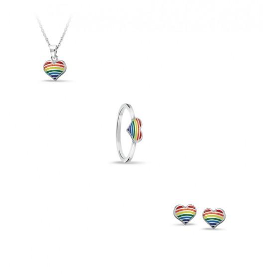 Bellini Zilveren ring regenboog hartje MAAT 15 - 45662