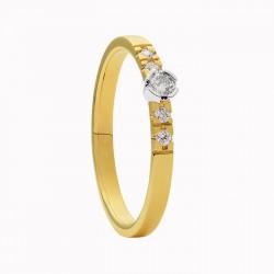 ECLAT Ring Amore13  bi-coler goud met dia 0.013crt G-VS MAAT 17,75 - 47909