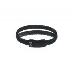 AZE JEWELS Armband DOUBLE FLAT STRING BLACK-ON-BLACK 21cm - 48226