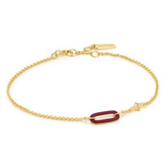 ANIA HAIE Claret Red Enamel Raven Link Gold Bracelet MAAT 18,5cm - 48194