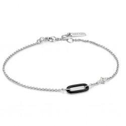 ANIA HAIE Claret Black Enamel Silver Link Bracelet MAAT 18,5cm - 48425