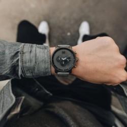 MVMT Chrono Grey Leather chrono horloge  45 mm D-MC01BBLGR - 44583