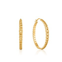ANIA HAIE Curb Chain Hoop Earrings M - 46033