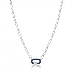 ANIA HAIE Navy Blue Enamel Carabiner Silver Necklace MAAT 45cm - 48190