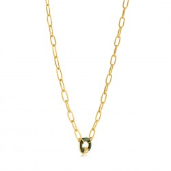 ANIA HAIE Forest Green Enamel Carabiner Gold Necklace MAAT 45cm - 48189