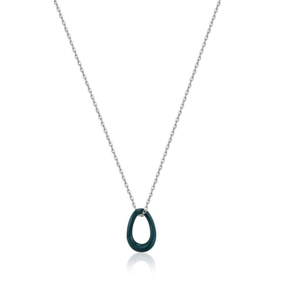 ANIA HAIE Forest Green Enamel Silver Twisted Pendant Necklace MAAT 45cm - 48193