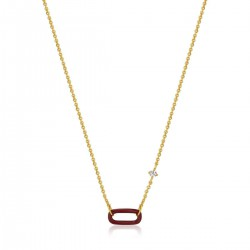 ANIA HAIE Claret Red Enamel Gold Link Necklace MAAT 38+7cm - 48424
