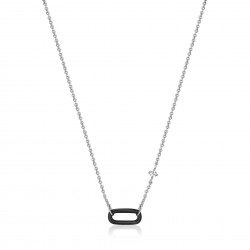 ANIA HAIE Raven Black Enamel Silver Link Necklace MAAT 43cm - 48192