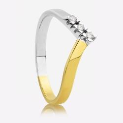 ECLAT Gouden Bi-coler Ring met Diamand 0,09 crt. - 47439