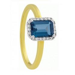ECLAT Ring  Londen blauw topaas & 0.09 CRT tw-si diamand 14krt Maat 17,5 - 47639