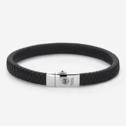 Rebel & Rose Armband Absolutely Leather Small Braided Black 19cm - 43025