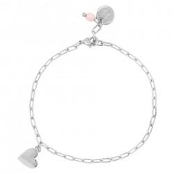 & anne Bracelet Heart Pink Bead Zilver plating - 47619