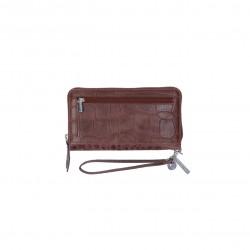 LouLou Essentiels Grote Portemonnee Vintage Croco Silver | Dark Brown - 40589